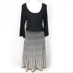 Black White Stripe Knit Sweater Dress M Midi